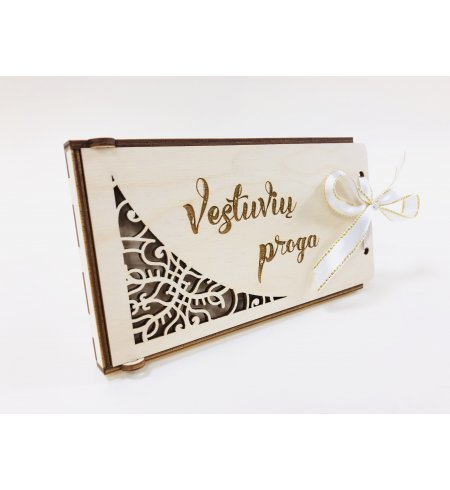 Medinis dovanų vokelis - vestuvių proga (ažūrinis)