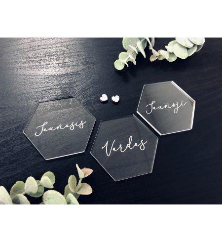 Akrilinės stalo vardo kortelės (korys)