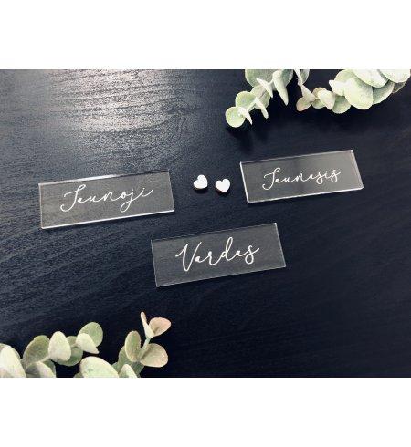 Akrilinės stiklinės vestuvių stalo vardo kortelės (korys)