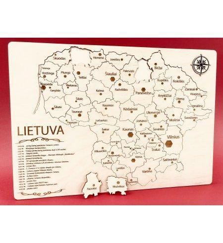 Medinė dėlionė - žemėlapis Lietuva