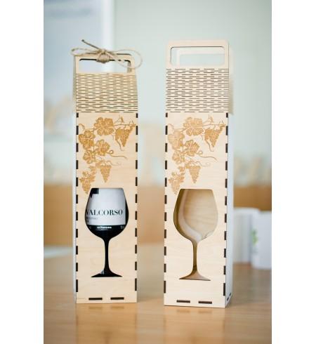 Dėžutė vyno buteliui (Orn. vyno taurė)
